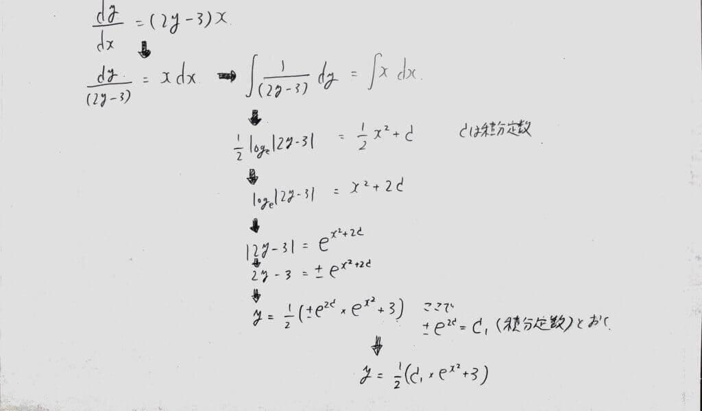 変数分離型の微分方程式の解き方例1