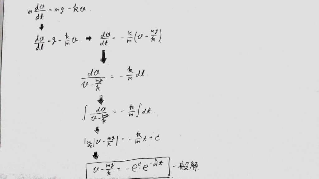 終端速度型の微分方程式の一般解を求める