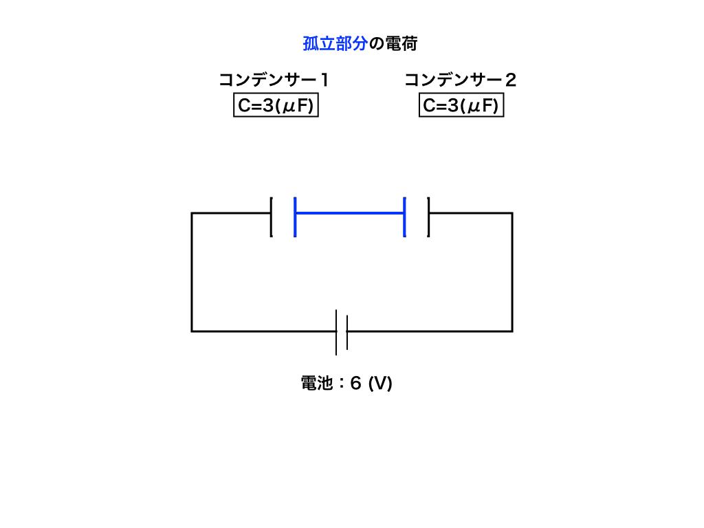 コンデンサー回路の孤立部分の電荷保存の図