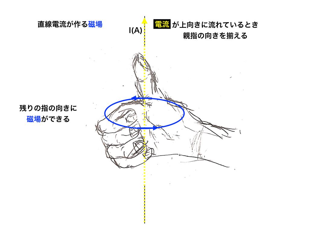 直線の電流と磁場・右手の法則
