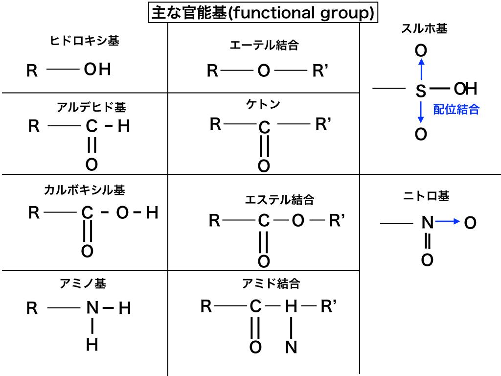 主なfunctional-groupのまとめ図