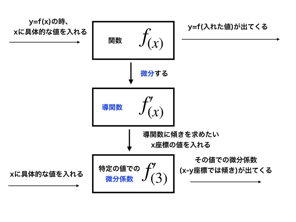 関数f(x)-f'(x)-f'(特定の値):関数→導関数→微分係数の解説イメージ図