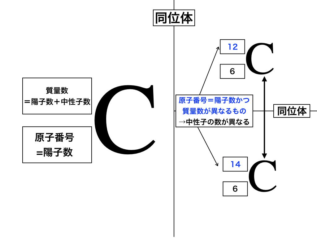 炭素のアイソトープと原子番号・質量数