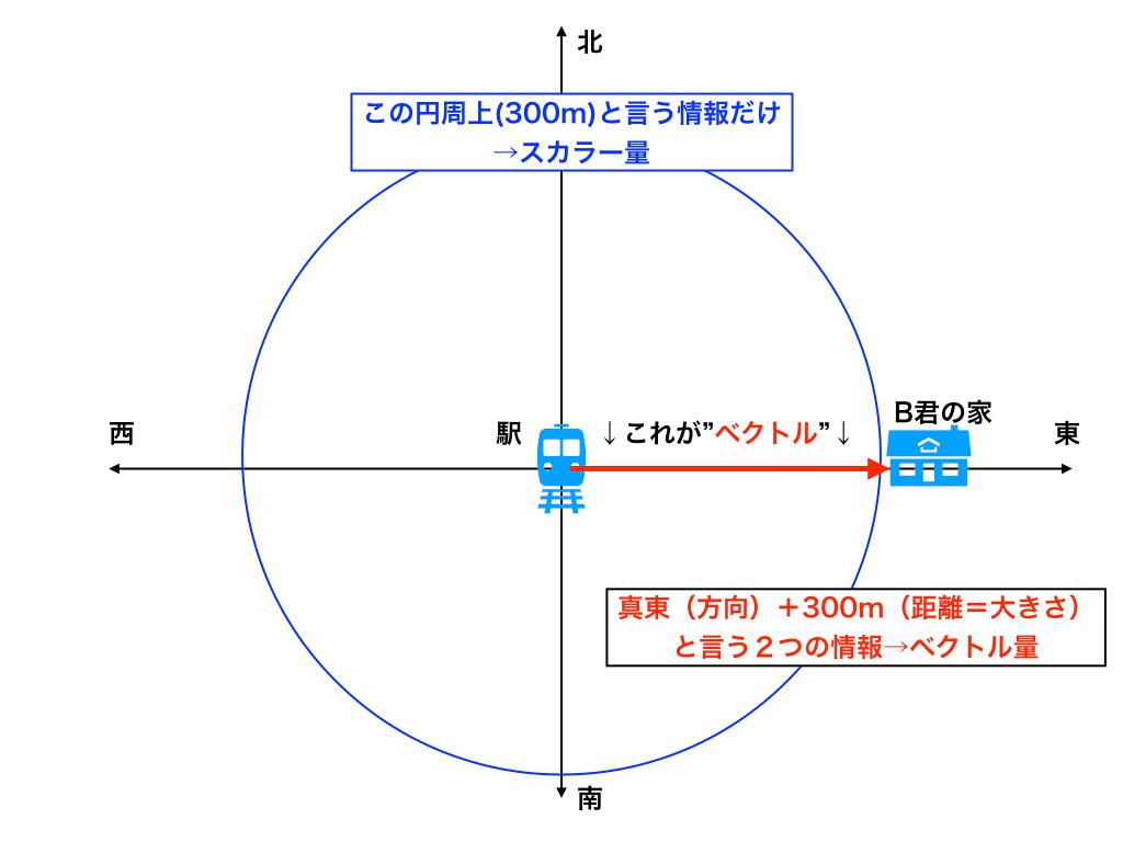 ベクトルとは何か?スカラーとの対比の解説図
